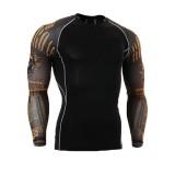 Men Quick Drying Tight Sports GYM Training Running Pattern Long Sleeve T-Shirts