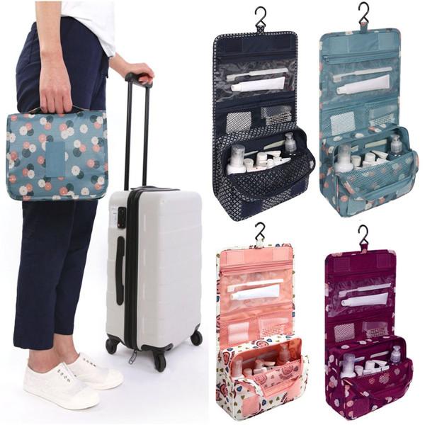 d1e38e665d Zipper Hanging Toiletry Bags Floral Pattern Travel Organizer Case ...