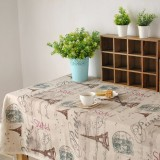 Paris Eiffel Tower Pattern Coffee Cotton Linen Tableware Mat Tablerunner Tablecloth Desk Cover