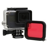 For GoPro HERO5 30m Waterproof PC & ABS Housing Protective Case + Camera Lens Red Quadrate Filter with Buckle Basic Mount & Long Screw & Anti-lost Hand Strap