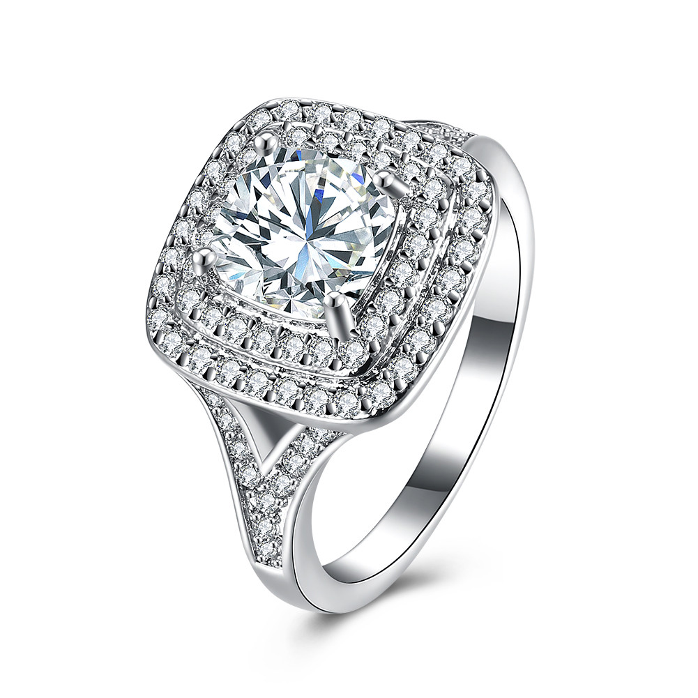 Silver Turkish Platinum: Zircon Platinum Plated Rhinestones Gift Wedding Jewelry