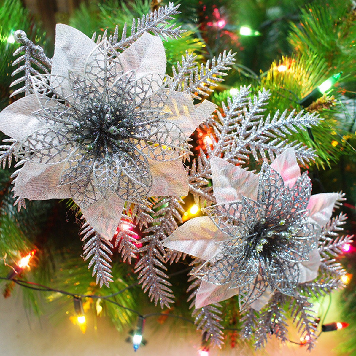 Glitter Artificial Christmas Tree Flowers Ornament Pendant ...