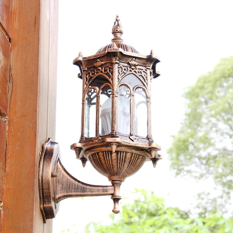 Vintage Green Glass Light Fixture: Outdoor Bronze Antique Exterior Wall Light Fixture