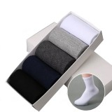 5 Pairs Mens Solid Color Casual Business Socks Breathable Cotton Socks