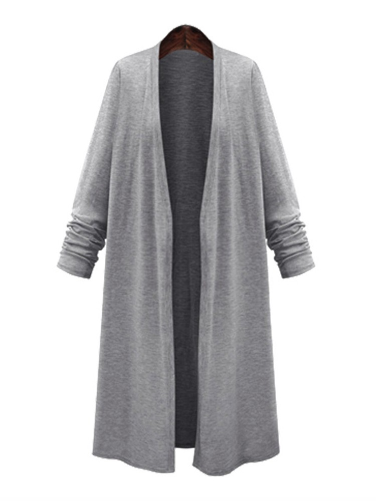 Women Solid Color Long Sleeve Loose Casual Cardigan Outwear