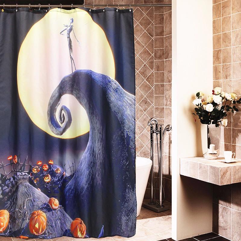 Halloween Nightmare Moon Skull Polyester Shower Curtain Bathroom Decor With 1