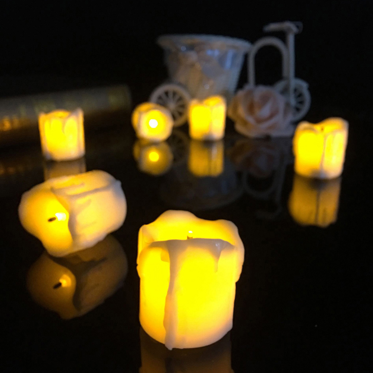 4 3 battery powered flameless led candle tea night. Black Bedroom Furniture Sets. Home Design Ideas