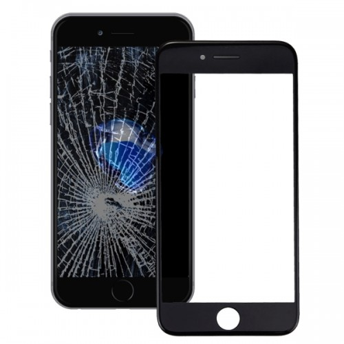 Replacement for iPhone 7 Front Screen Outer Glass Lens with Front LCD Screen Bezel Frame (Black)