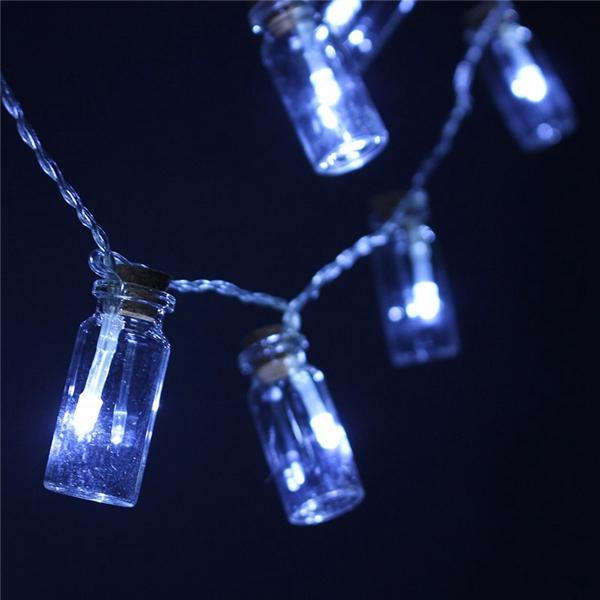 Battery Powered 20 LED Wishing Bottle Fairy String Light Xmas Garden Wedding Party Decor