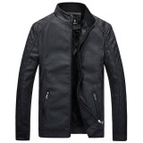 Mens Autumn Winter Thicken PU Leather Jacket Solid Color Stand Collar Slim Fit Coat