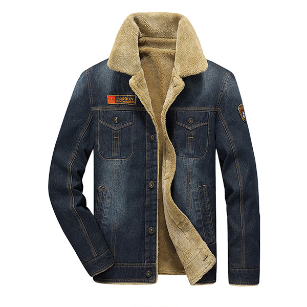 NIAN JEEP Mens Thick Denim Turn-down Collar Multi-pocket Winter Fashion Casual Solid Color Coat