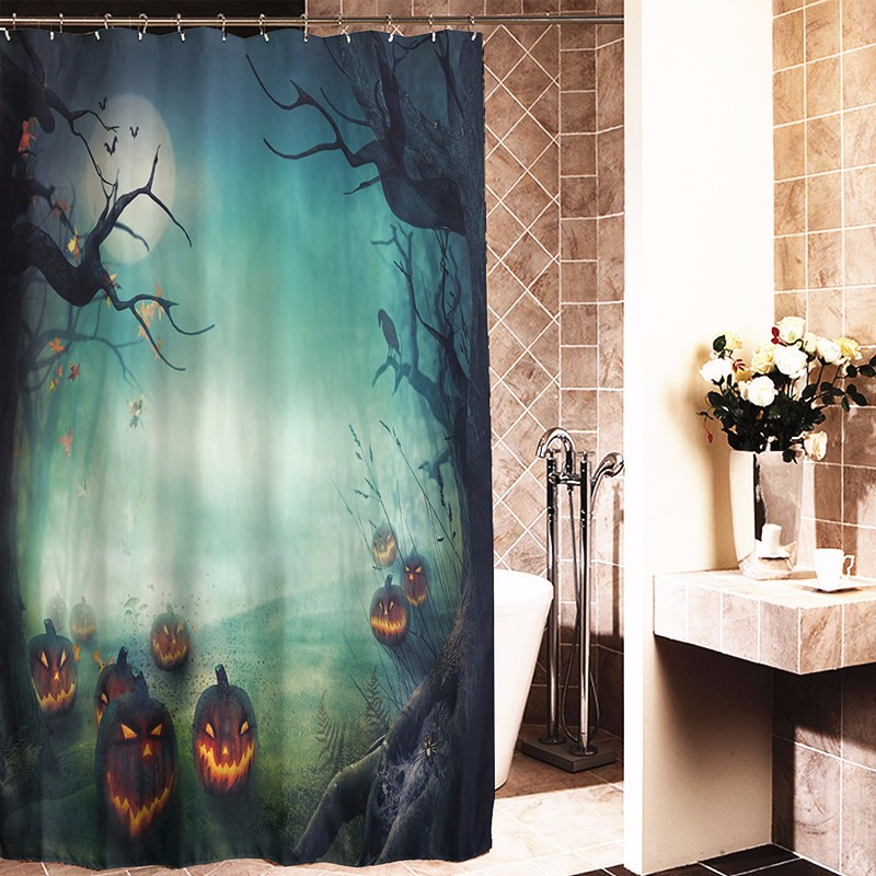 180x180cm halloween pumpkin monster polyester shower curtain bathroom decor with 12 hooks alex nld Bathroom decor ideas with shower curtain
