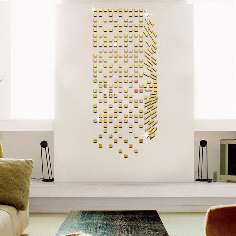 Mirror Mosaic Background Wall Stickers Home Decor Diy Creative