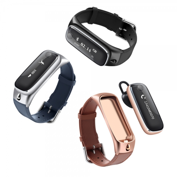 M6 2-in-1 Bluetooth Headset Fitness Tracker Smart Wrist Band for iOS  Android Silver