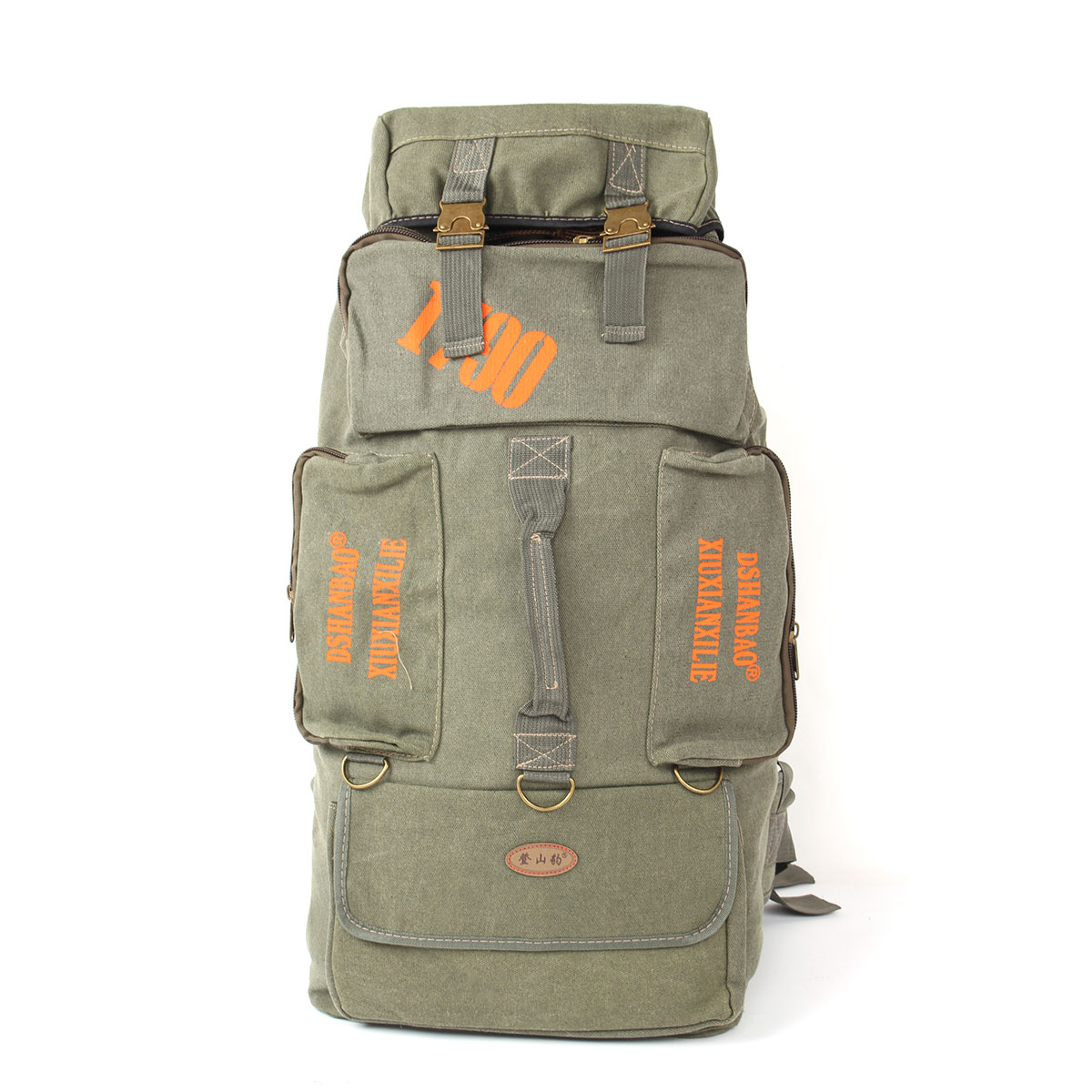 80L Camping Hiking Canvas Backpack Mountaineering Travel ...