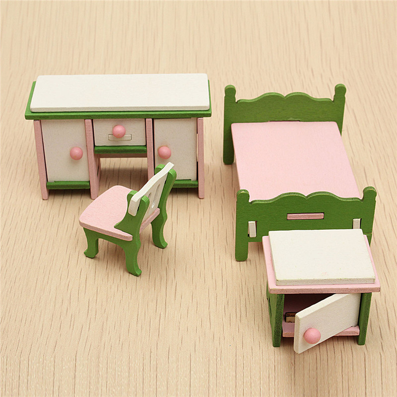 Dollhouse Miniature Bedroom Kit Wooden Furniture Set Families Role Play Toy Alex Nld