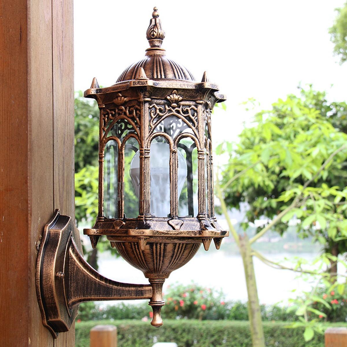Outdoor bronze antique exterior wall light fixture aluminum glass lantern garden lamp for Bronze exterior light fixtures