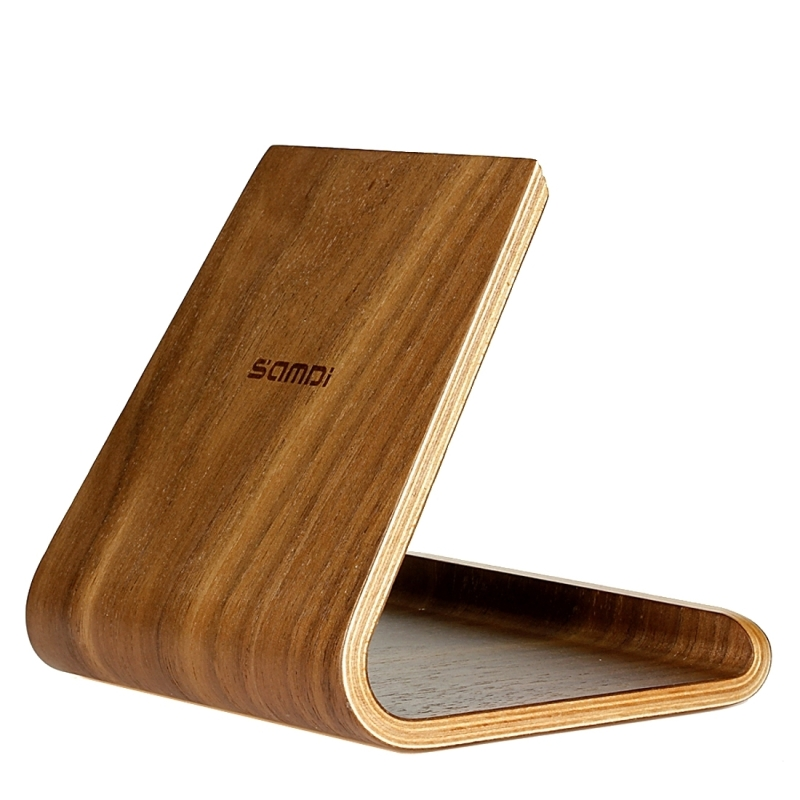 Samdi Artistic Wood Grain Walnut Desktop Holder Stand Dock Cradle For Mobile Phone Ipad And