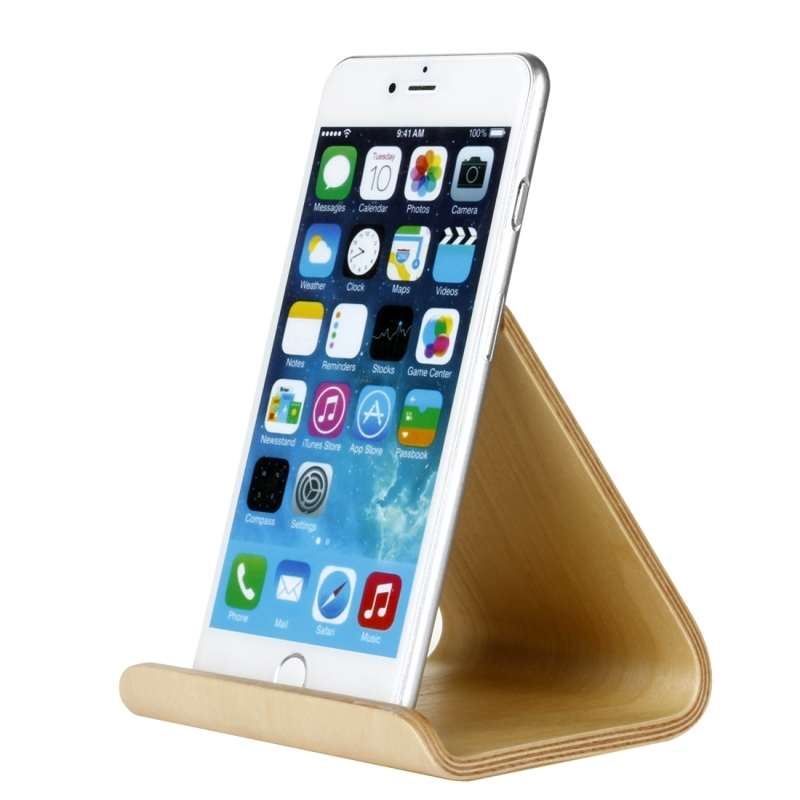 SamDi Artistic Wood Grain White Birch Desktop Holder Stand DOCK Cradle for Mobile Phone, iPad and other Tablets (Brown)