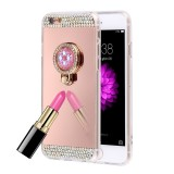 For iPhone 6 & 6s Diamond Encrusted Electroplating Mirror Protective Cover Case with Hidden Ring Holder (Rose Gold)