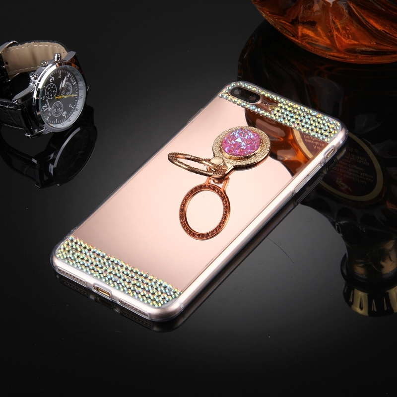 For iPhone 7 Plus Diamond Encrusted Electroplating Mirror Protective Cover Case with Hidden Ring Holder (Rose Gold)