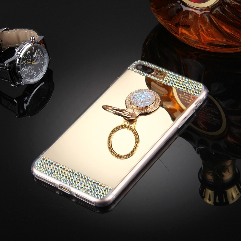 For iPhone 7 Plus Diamond Encrusted Electroplating Mirror Protective Cover Case with Hidden Ring Holder (Gold)