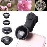 5 in 1 Universal 0.4X Super Wide Angle Lens + 235 Degrees Fisheye Lens & 19X Macro + Telephoto Lens 2X + CPL Lens + Smiling Face Clip External Phone Lens for Mobile Phones / Tablet PC (Black)