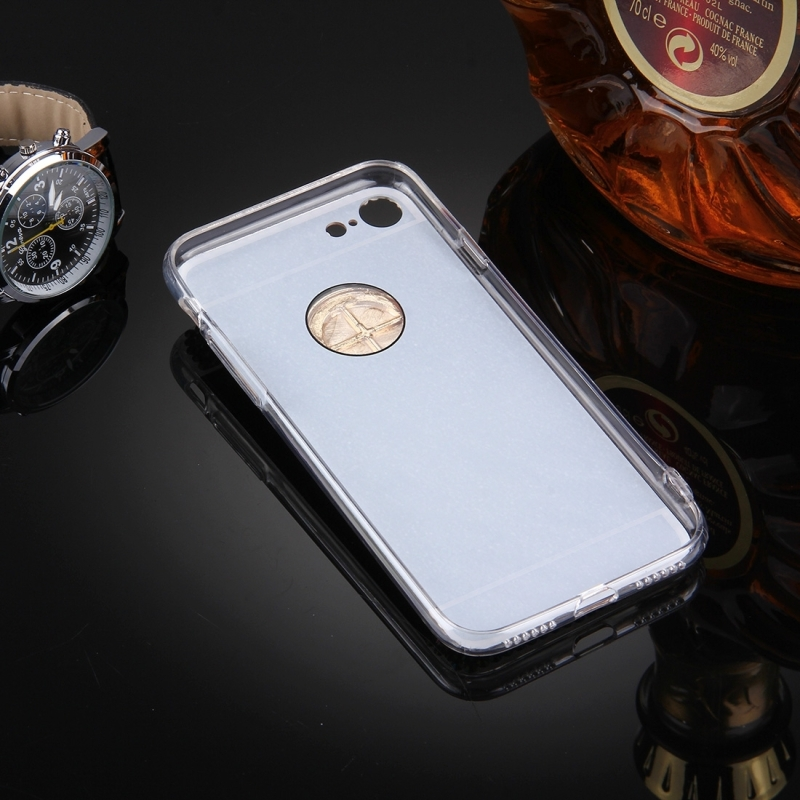 For iPhone 7 Diamond Encrusted Electroplating Mirror Protective Cover Case with Hidden Ring Holder (Gold)