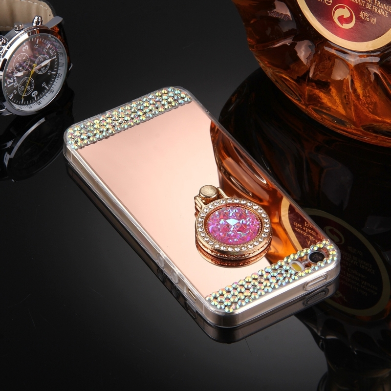 For iPhone 5 & 5s & SE Diamond Encrusted Electroplating Mirror Protective Cover Case with Hidden Ring Holder (Rose Gold)