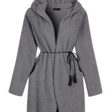 O-NEWE Plus Size Women Thick Pure Color Long Sleeve Belt Hooded Fleece Coat