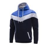 Mens Casual Fleece Lined Hooded Sweatshirt Stitching Warm Pullover Hoodies