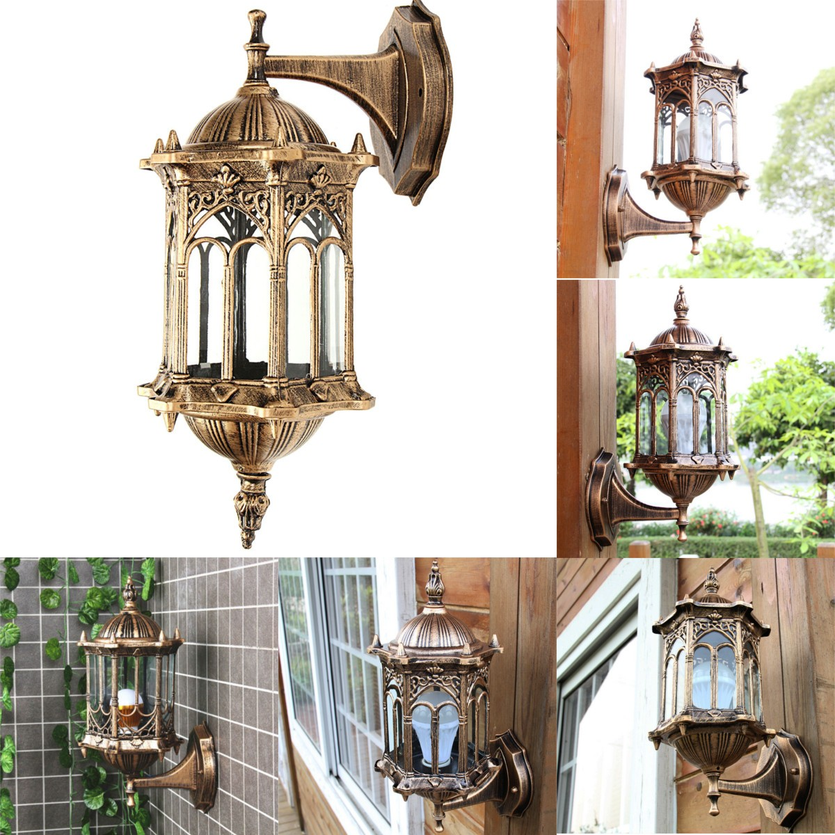 Outdoor bronze antique exterior wall light fixture aluminum glass lantern garden lamp alex nld for Bronze exterior light fixtures