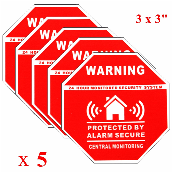 5pcs Home Alarm Security Stickers Decals Signs For Window
