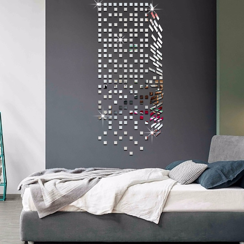 Mirror mosaic background wall stickers home decor diy for Mosaic home decor