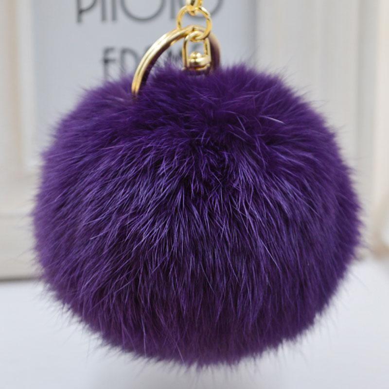 Cute Soft Multicolors Fur Ball Pendant Hangbag Car Key Chain Ring