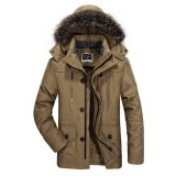 AFS JEEP Winter Velvet Plus Thick Warm Windproof Waterproof Hooded Outdoor Jacket Parka