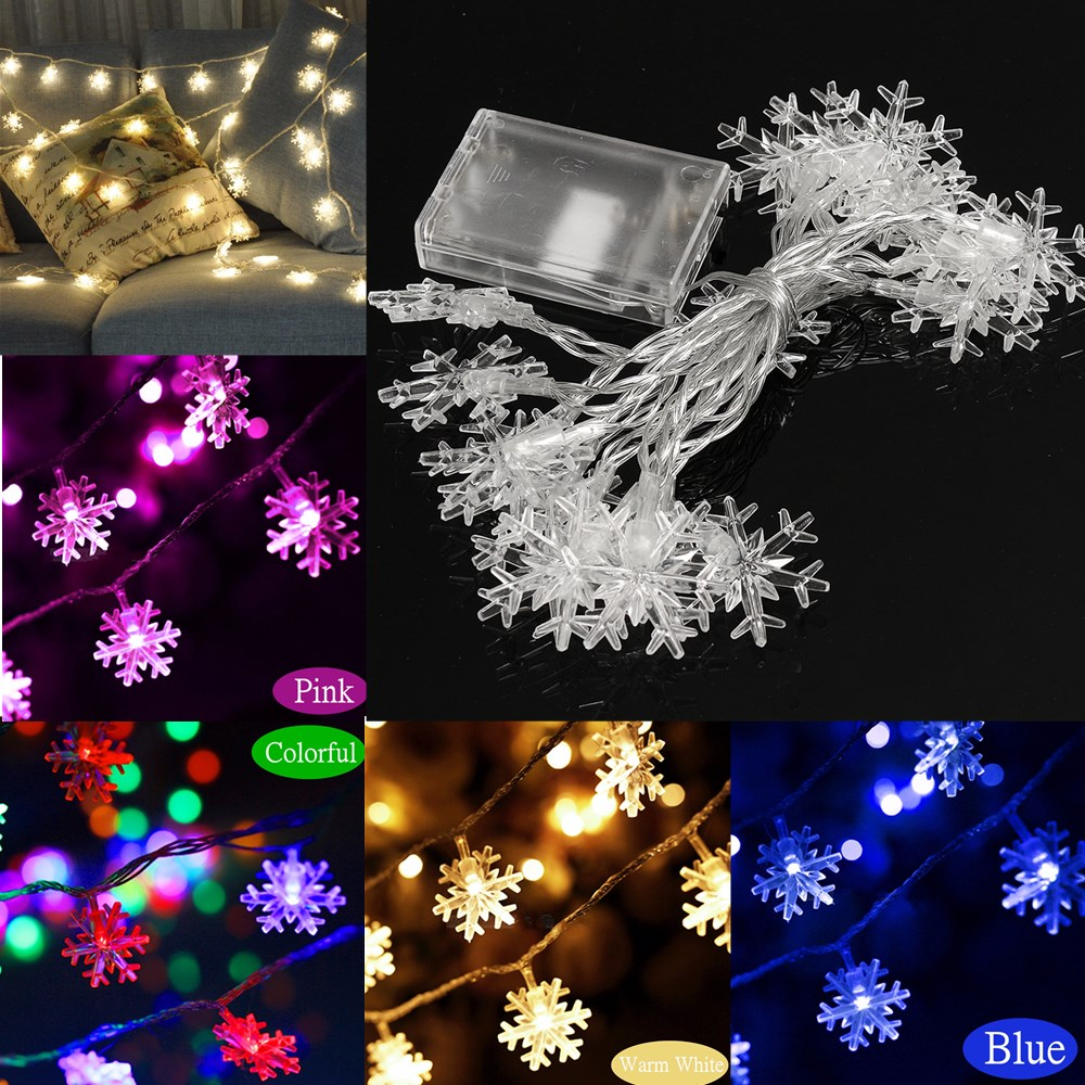How To String Christmas Lights On Ceiling : 2.5M/5M LED Snowflakes String Christmas Light Xmas Tree Ornament Garland Hanging Decor Alex NLD