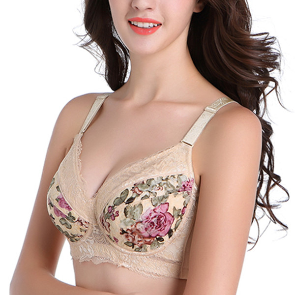 Large Size C-F Lace Floral Printed Full Cup Comfy Wire Free Push Up Adjustable Back Closure Bras