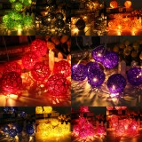 20 LED Rattan Ball String Light Home Garden Fairy Colorful Lamp Wedding Party Xmas Decor