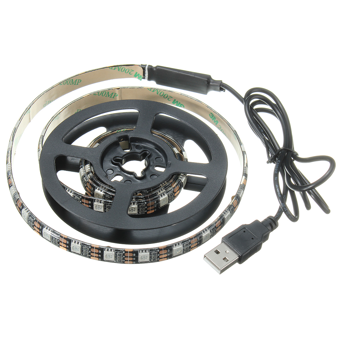 Waterproof 5050 USB Black TV PC Background RGB LED Strip Light Xmas Decor+ Remote DC5V