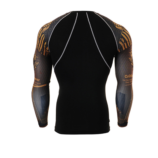 Men Quick Drying Tight Sports GYM Training Running Pattern Long Sleeve T-Shirts