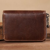 Men Casual Short Genuine Leather Wallet Cowhide Retro Card Holder