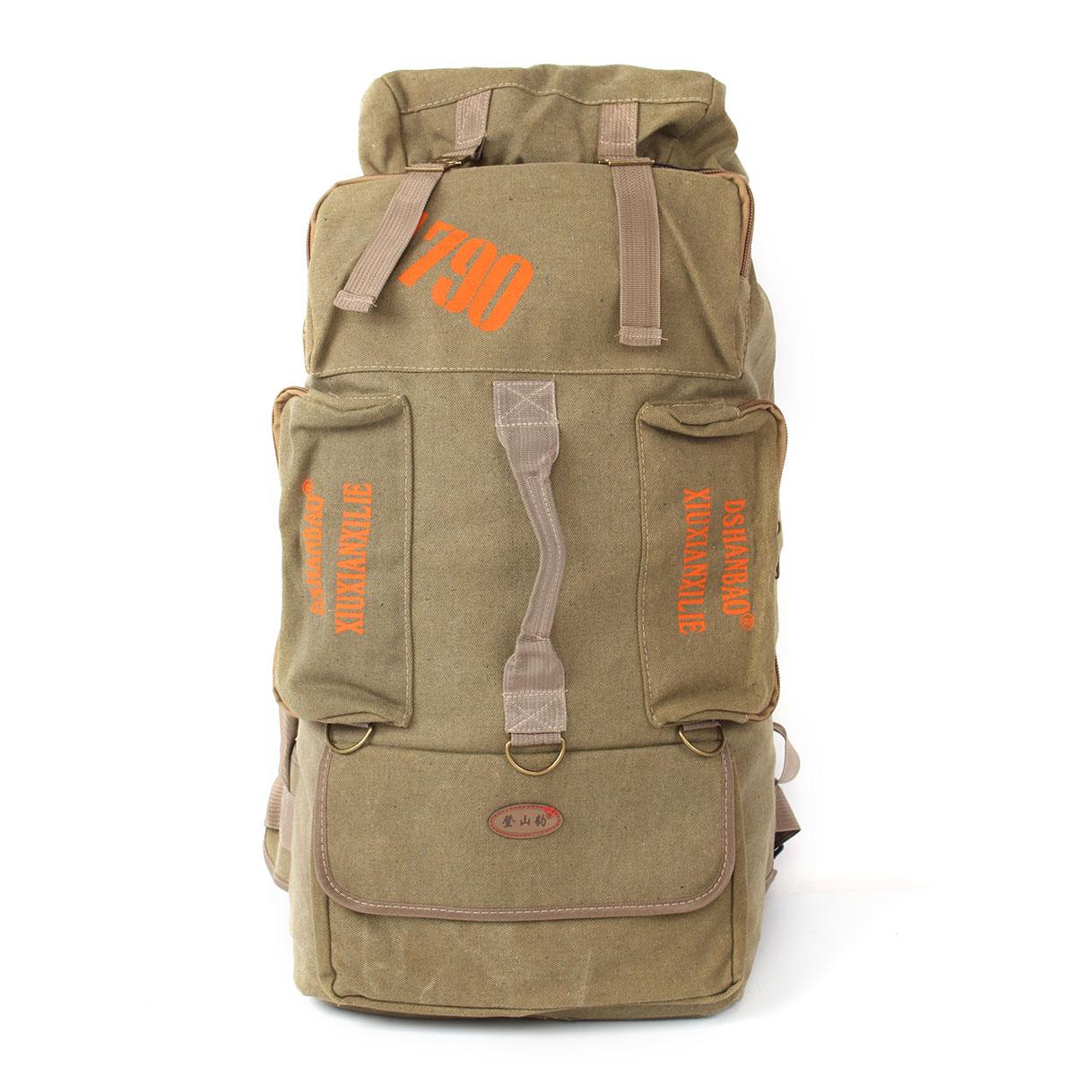 80L Camping Hiking Canvas Backpack Mountaineering Travel Rucksack Trekking Bag