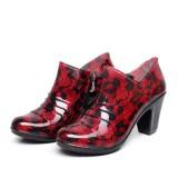 Women High Heel Shoes Rain Boots Waterproof Soft Comfortable Pump