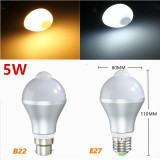 E27 B22 5W Auto PIR Motion Sensor LED Infrared Energy Saving Light Bulb 85-265V