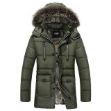 Mens Warm Winter Hooded Coats Zipper Cotton Loose Thick Large Lapel Trendy Parka 4 Color
