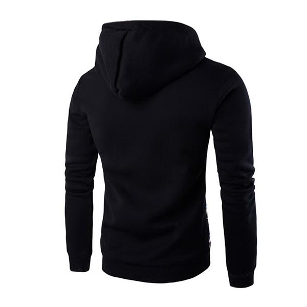 Mens Winter Fleece Casual Hoodies Spell Color Pullover Sweatshirts Hoodies