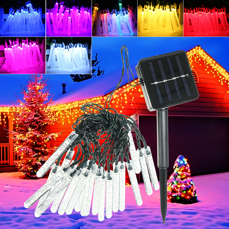 4.8M 20 LED Bubble Icicle Fairy String Light Solar Power Christmas Party  Lamp - 4.8M 20 LED Bubble Icicle Fairy String Light Solar Power Christmas