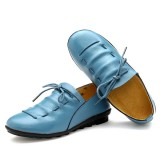 Casual Comfy Lace Up Soft Leather Round Toe Flat Loafer Shoes