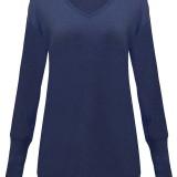 Casual Women Pocket Long Sleeve V Neck Long Tops